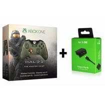 Controle Xbox One Halo 5 Master Chief + Bateria Cabo Recarga