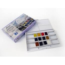 Aquarela Fine Watercolour Lefranc 12 Cores + Pincel Profis.