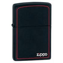 Isqueiro Zippo Preto Fosco Regular C/ Listra Vermelha 218zb
