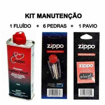 Kit Zippo Original C/ 1 Fluído 125 Ml + 6 Pedras + 1 Pavio