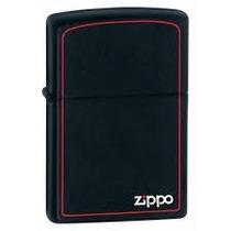 Zippo Original Preto Fosco Regular C/ Listra Vermelha