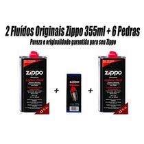 Kit Zippo Original: 2 Fluídos 355ml + 6 Pedras