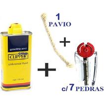 Fluido Clipper + Pavil + Pedras P/ Isqueiro -