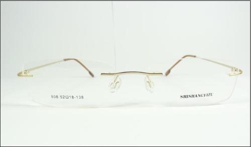 af8594f39a479 Comprar Armação Oculos Titanio Dobradiça Dourada Leve Sem Aro A602 ...