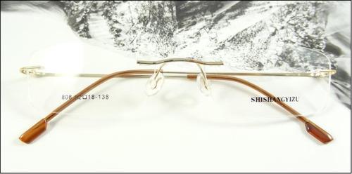 Comprar Armação Oculos Titanio Dobradiça Dourada Leve Sem Aro A602 ... cb6f9b4811