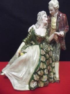 B. Antigo - Estatueta De Casal De Fidalgos Em Cena Romantica Original