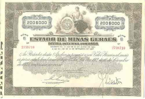 Apólice Do Estado De Mg - 1934 Original