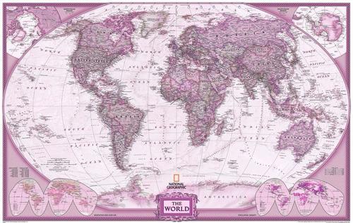 Mapa Mundi 65x100cm Mundo Pra Decorar Casa Tons Vinho Rosado Original