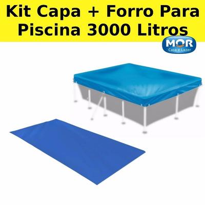Kit piscina retangular mor 3000 lt lona pvc capa forro for Piscina 3000 litros