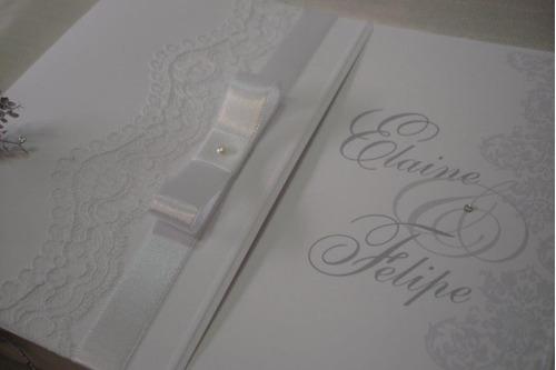 Convite Branco Com Renda