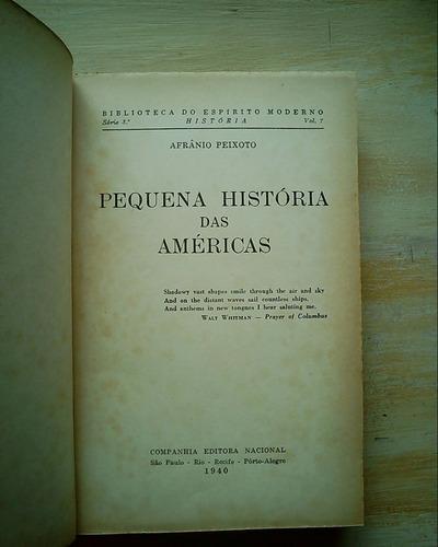 Livro Pequena História Das Américas Afrânio Peixoto Ilustrad Original