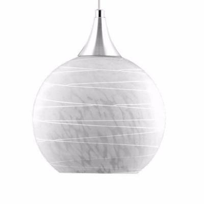Pendente de Vidro Riscado Branco com base em alumínio escovado, encontre em danielEletro