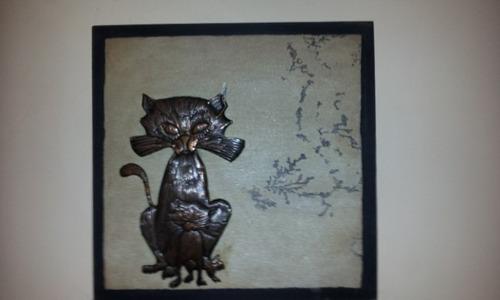 Quadro Decorativo Gato Na Pedra