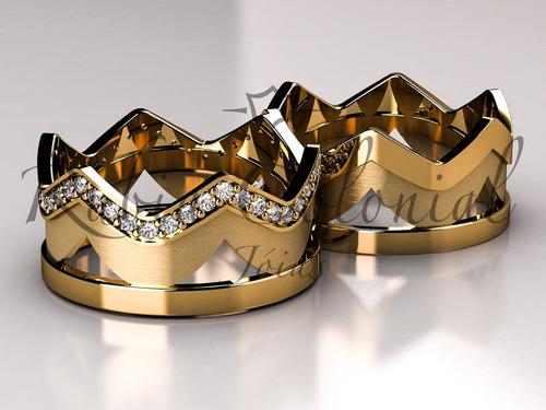 Aliança Majestade Ouro 18k. Coroa Rei Rainha Original