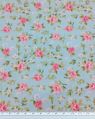 Tecido Floral Nathalia Azul Med: 1,00 X 1,50 Cm