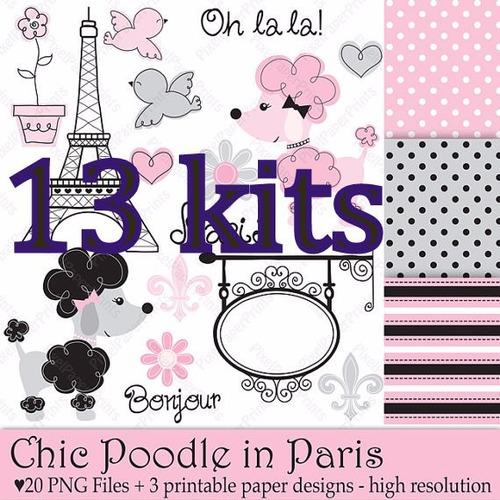 13 Kits Scrapbook Paris Papel Digital 355 Imagens + Brinde Original