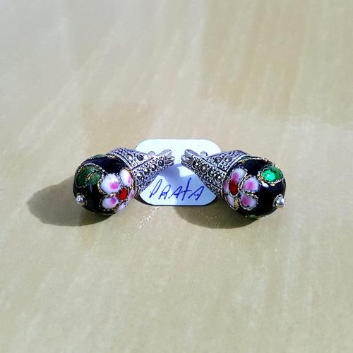 Brinco Em Prata 950 Com Pedra Vermelha, Branca Ou Preta Original