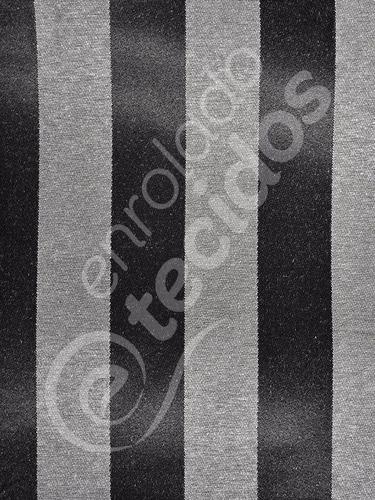 Tecido Jacquard Preto Com Crú Listrado Decoração 2m X 2,8m Original