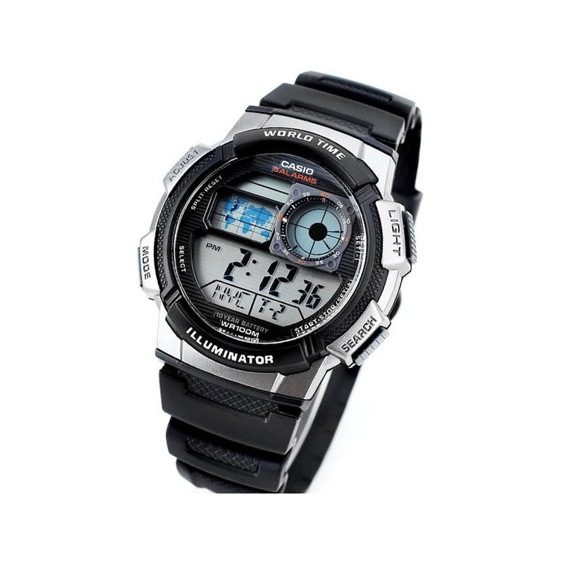 b5c5ea1d8 Relogio Casio Ae 1000w-1b Borracha Mapa Cronometro 5 Alarmes em ...