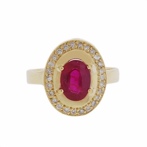 Anel Ouro 18k Rubi E Diamantes Mod. Cj1424 Original