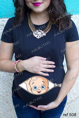 Camiseta Baby Look Gravida Gestante Bebê No Ziper