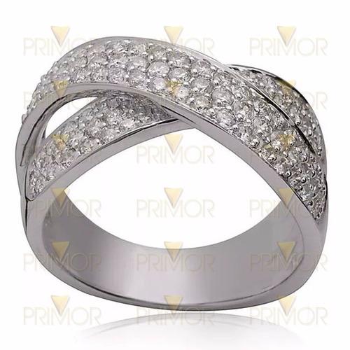 Anel Em Ouro Branco Trançado Com 150 Diamantes E 8g An052