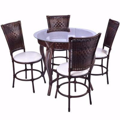 Conjunto Junco Mesa Redonda 4 Cadeiras Area Cozinha Piscina em Porto Ferreira