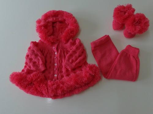 Casaco Calça Sapatinho Conjunto Esquimo Lã Bebe Nene Enxoval
