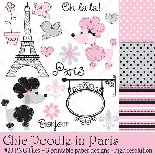 15 Kits Scrapbook Digital Poodles In Paris - Lindos!! Original