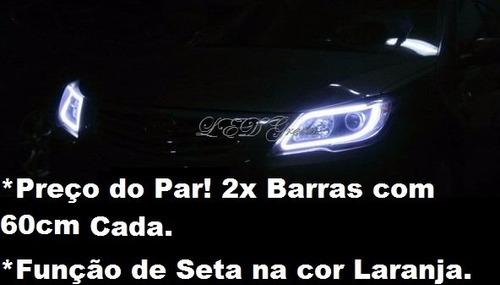 a7a777485 Comprar Par Barra Led 60cm Flexível + Seta Laranja! Farol Drl Diurna ...