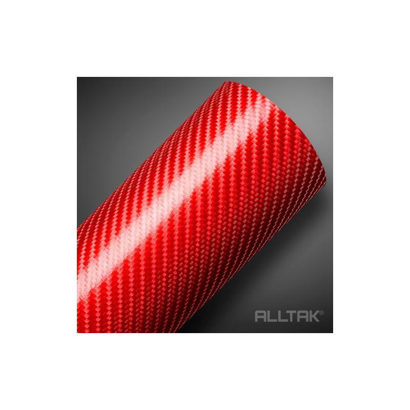 Adesivo para envelopamento fibra de carbono 4 D vermelho Larg. 1,50 m