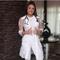 JALECO DE ALFAIATARIA Dra. MARIE CURIE ACETINADO OFF WHITE - JR000113