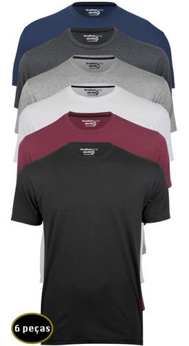 Kit 6 Camisetas Masculinas Slim Fit  Básicas Algodão Premium Original
