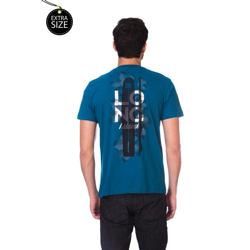 Camiseta Long Island Plus Size Azul