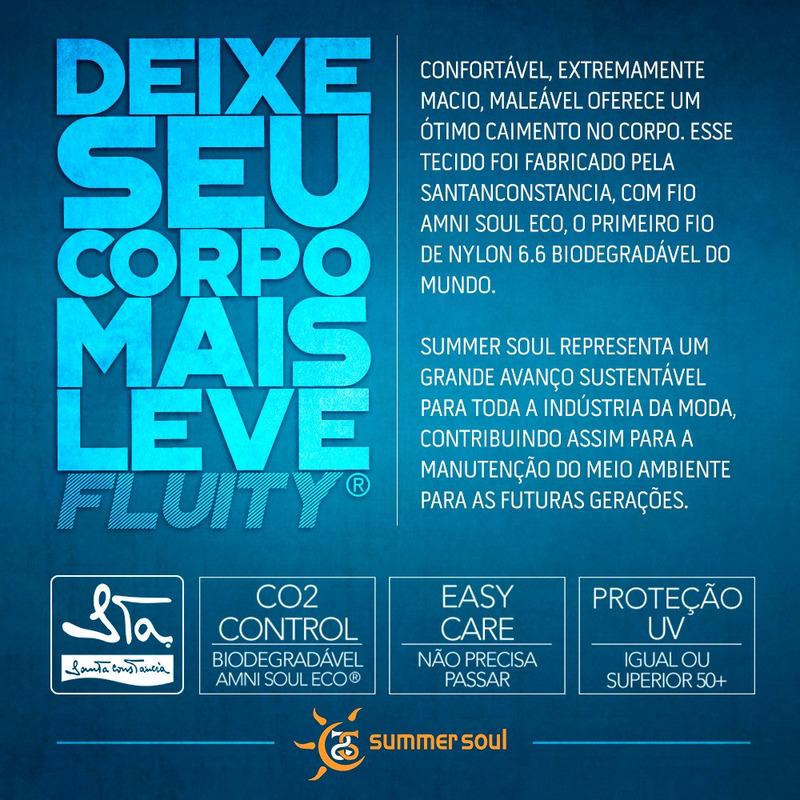 Calcinha Summer Soul Cós Médio Com Lateral Franzida Lírios Azul