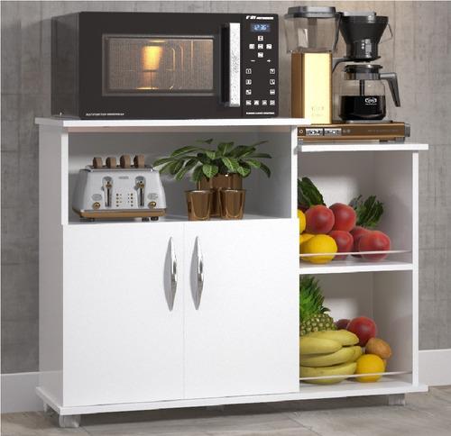 Fruteira Balcão Branco Cozinha 2 Portas Base Microondas Original