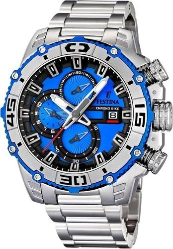Relógio Hx20 Festina Tour De France Prata Azul Lançamento Original
