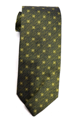Gravata Seda Italiana Verde Dourado Social Advogado B0356 Original