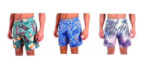 Kit 5 Short Masculino Moda Praia Floral Summer Bebidas Original