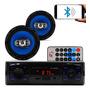 Kit Som Carro Radio Mp3 Bluetooth Usb 2 Alto Falante 6 Pol