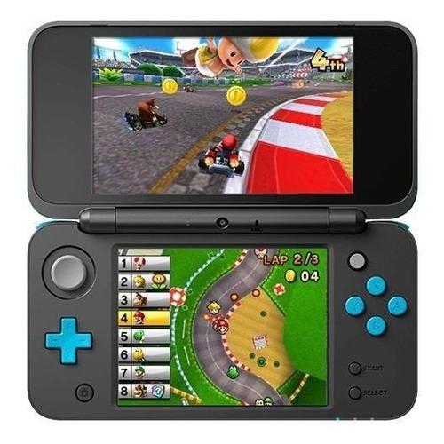 Nintendo New 2ds Xl Mario Kart 7 Bundle Preto E Azul-turquesa Original