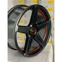 4 Rodas Gt7 Aro 17 Concavas Racing / Preta Com Vermelho
