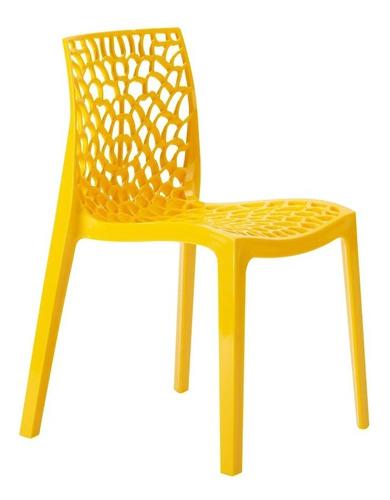 Cadeira Gruvyer Cozinha Jantar Alto Brilho Higlopp Amarelo Original
