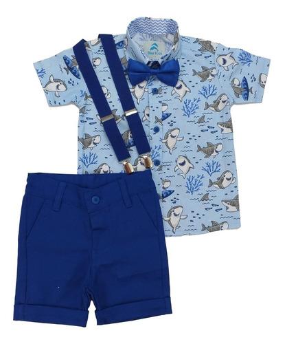 Conjunto Infantil Menino Baby Shark Azul Claro