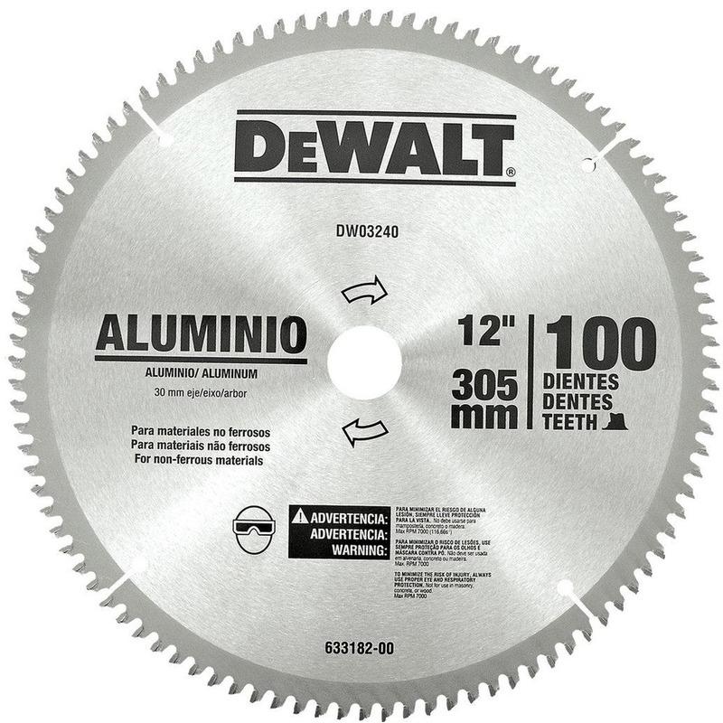 "Lâmina de Widea Dewalt 12"" 100D para Alumínio"