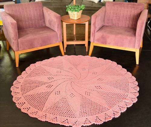 Tapete De Sala Grande Redondo Colorido Em Crochê 1,5mts Original