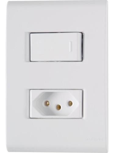 Conjunto Interruptor Simples + Tomada 10a Tramontina Liz 3 Original
