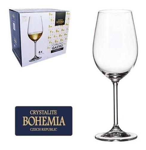 Jogo 6 Taças Cristal Com Titanium Vinho Branco 350ml Bohemia Original