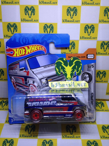 Bx172 Hot Wheels 2019 Van Custom 77 Dodge Super Chromes H3 Original