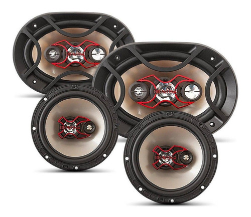 Alto Falante Bravox Facil 6 + Triaxial Quadriaxial 6x9 Kit Original